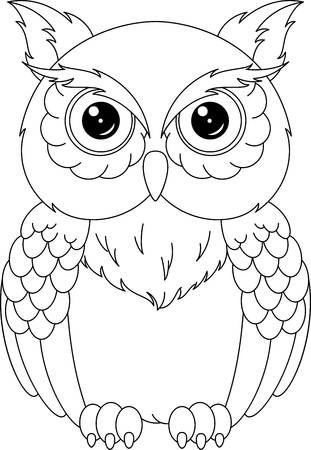 Owl kleurplaat Stock Illustratie