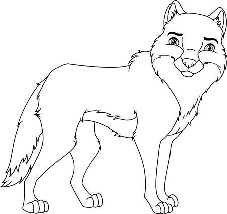 Página Para Colorear De Lobo De Dibujos Animados Ilustraciones ...