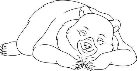 Sleeping Bear Coloring Page Royalty Free Cliparts Vectors And