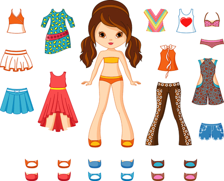 Paper doll with set of clothes.