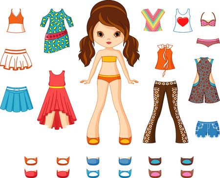 Muñeca de papel con conjunto de ropa.