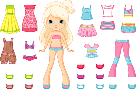 Paper Doll with a set of clothes Illustration