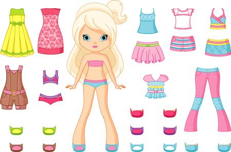 Papier Doll met een set kleding