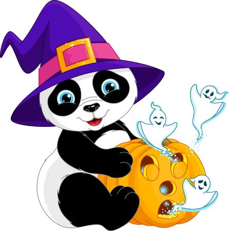 Halloween panda holding pumpkin with ghosts
