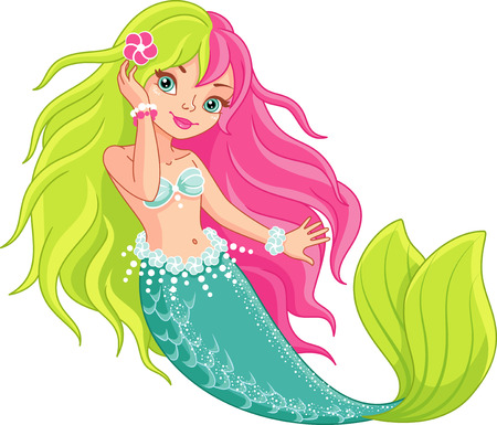 Little Mermaid with colored hair Vectores