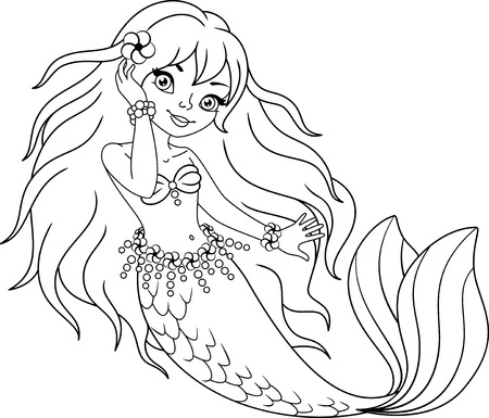 Little mermaid girl, Coloring Page