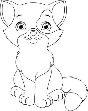 Kitten Coloring Page Ilustração