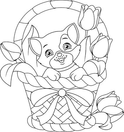 Cat in Basket Coloring Page Ilustração
