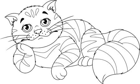 Sad Cat Coloring Page Ilustração
