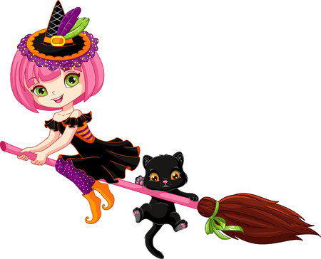 Little witch flies on broom