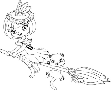 Little witch flies on broom, Coloring Page