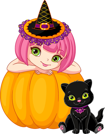Little witch with kitten on background pumpkin Ilustração