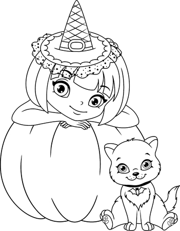 Witch with Kitten Coloring Page