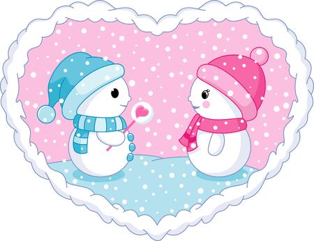 Winter valentine card with snowmen. Illustration