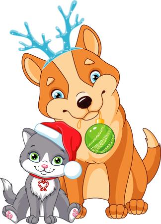 Christmas Dog with Cat Ilustração
