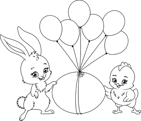 Easter Illustration Coloring Page with rabbit, chicken, easter egg and balloons.