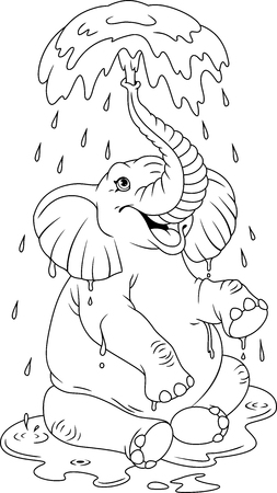 A big cartoon elephant is bathing. Coloring Page