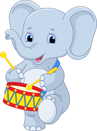 Small elephant marching and Drumming