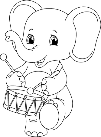 Elephant marching and Drumming, Coloring Page Illustration