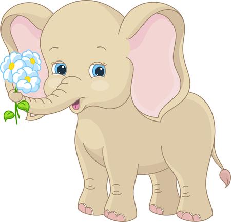 Bebé elefante sosteniendo un ramo de flores