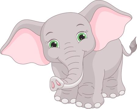Imagen lindo elefante sobre un fondo blanco.