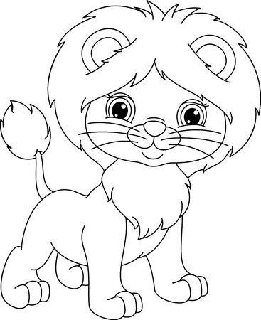 Young lion coloring page 向量圖像