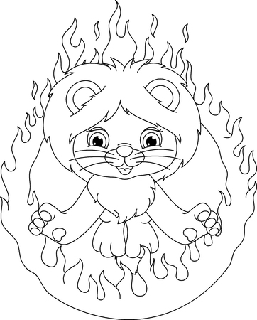 lion and ring of fire coloring page Banque d'images - 103853986