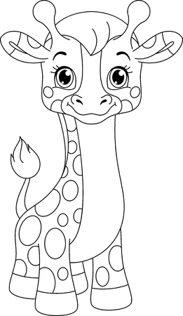 Giraffe Baby Coloring Page Banque d'images - 115415826