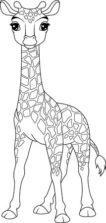 Girafe bébé coloriage Banque d'images - 104024069