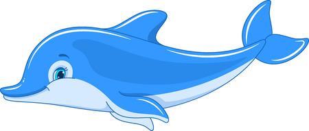 Delfín nadando aislado sobre fondo blanco.