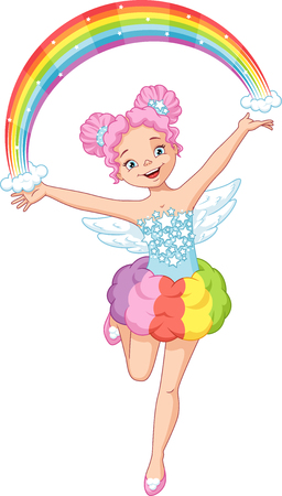 Beautiful Rainbow Fairy does magic Banque d'images - 115415828