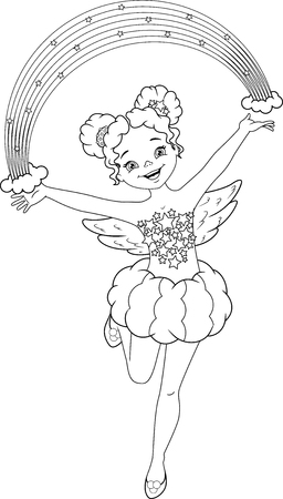 Rainbow Fairy Coloring Page Banque d'images - 115415829