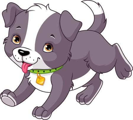 Cartoon puppy runs on white background Illustration