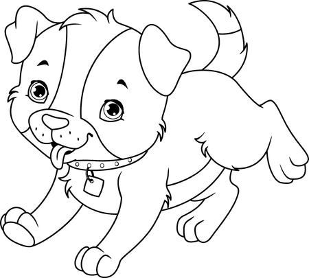 Cartoon puppy runs coloring page Banque d'images - 104896276