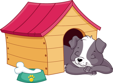 Puppy Sleeping in Doghouse