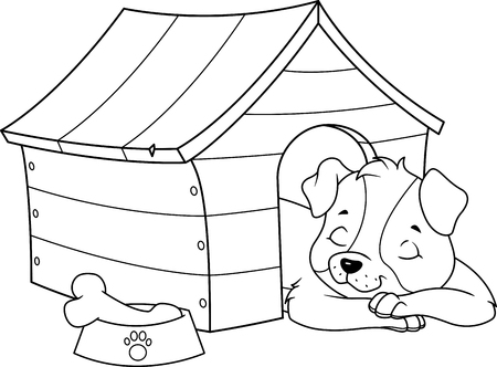 Puppy Sleeping in Doghouse Coloring Page