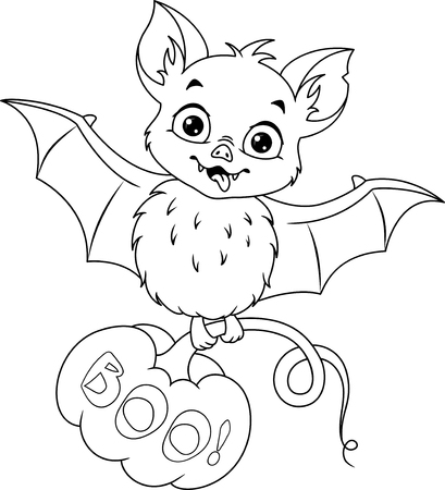 Bat with pumpkin for Halloween, coloring page Banque d'images - 115415836