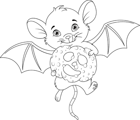 Mouse in halloween. Coloring page Banque d'images - 115415839