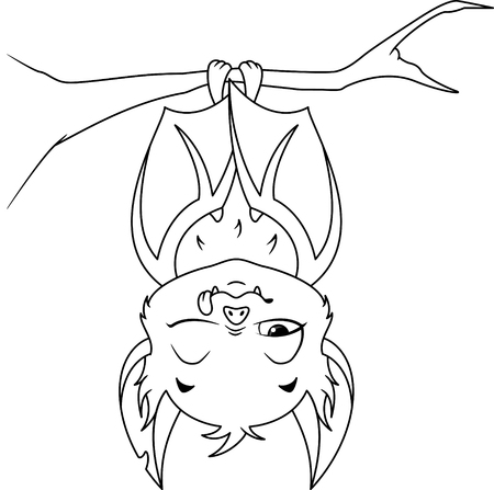 Sleeping Bat Coloring Page Banque d'images - 115415841
