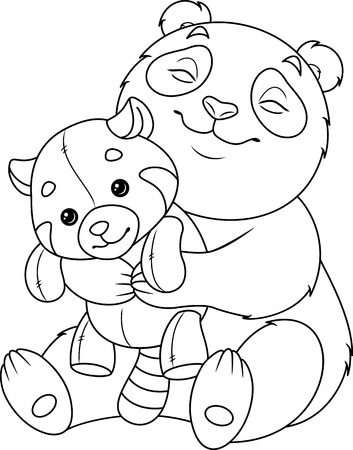 Panda hugs red panda coloring page