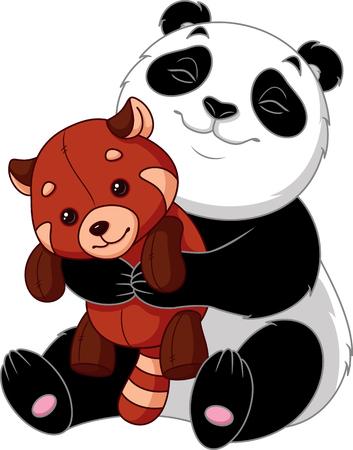 Panda hugs toy red panda Banque d'images - 115415846