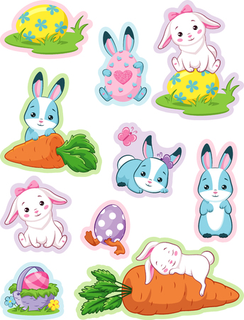 Easter stickers with bunny Banque d'images - 127276313