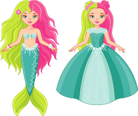 Princess and Mermaid. Girl in the image of a princess. Banque d'images - 127137213