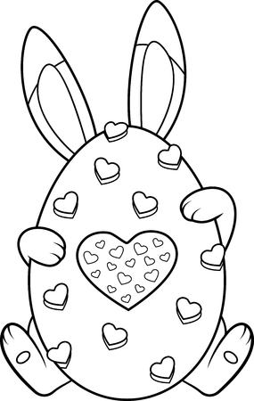Easter Bunny Coloring Page Banque d'images - 127137214