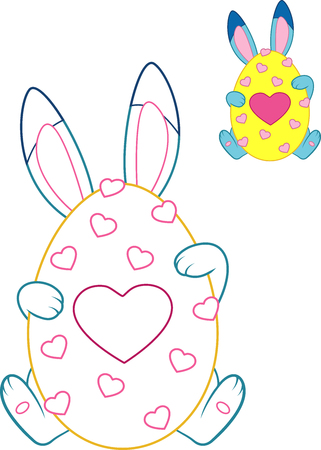 Easter Bunny with colored outline for coloring page