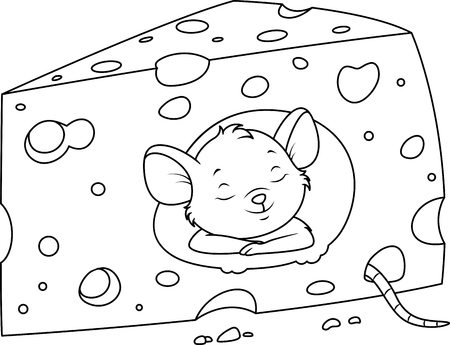 Mouse sleeps in cheese coloring page Banque d'images - 123564949