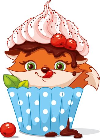 Cute fox hiding in cupcake Banque d'images - 132649497