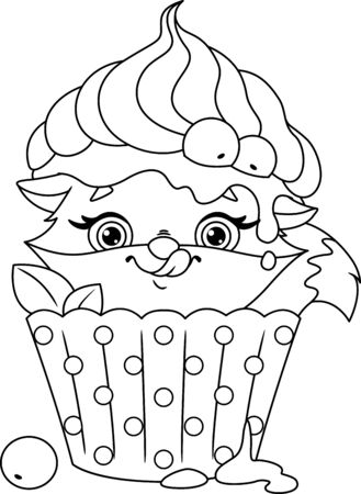 Cute fox hiding in cupcake Banque d'images - 132649469