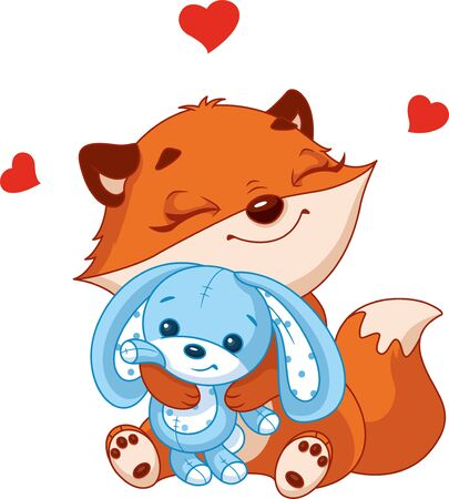 Little fox hugs toy