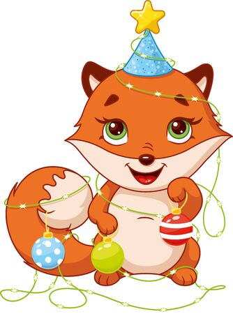 Little fox in christmas garland on white background Banque d'images - 132976244